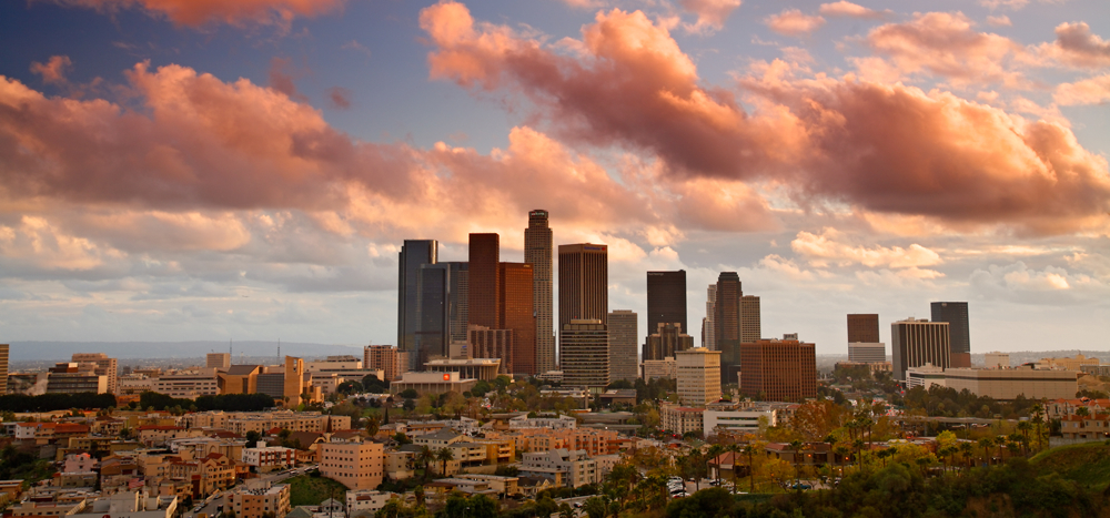 Los Angeles city skyline in the evening, Los Agneles, California.